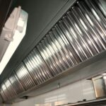 Restaurant Exhaust Fan With Hood Filters in Place
